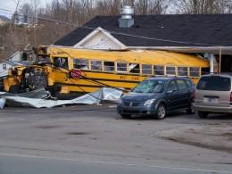 bus through building henryville