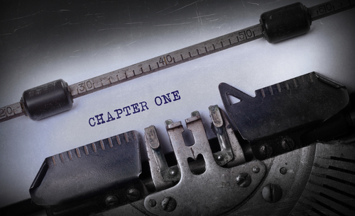 Vintage inscription made by old typewriter, Chapter one
